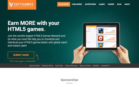 Screenshot of Developers Page softgames.de - Making Money With HTML5 games / publisher for HTML5 - captured Jan. 17, 2016