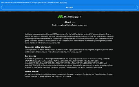 Screenshot of About Page mobilebet.com - About us   Mobilebet - captured Aug. 22, 2019