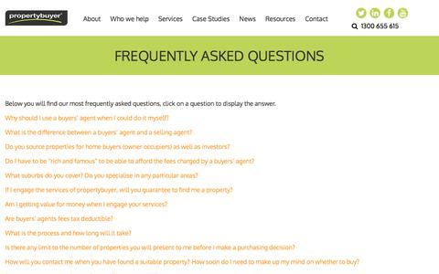 Screenshot of FAQ Page propertybuyer.com.au - Frequently Asked Questions: FAQ: Property Buyer - captured July 24, 2018