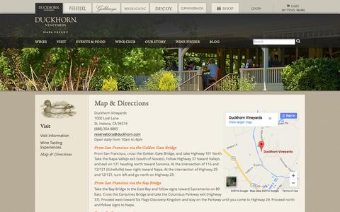 Screenshot of Maps & Directions Page duckhorn.com - Map and Directions to the Napa Valley Estate | Duckhorn Vineyards - captured July 19, 2016