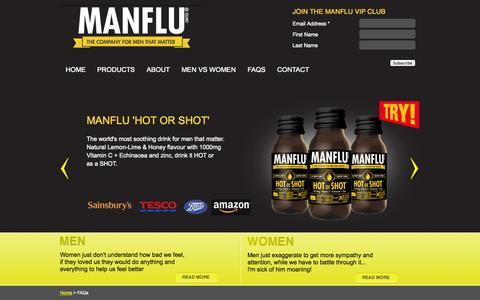 Screenshot of FAQ Page manflu.com - FAQs | Manflu.com - captured Sept. 16, 2014