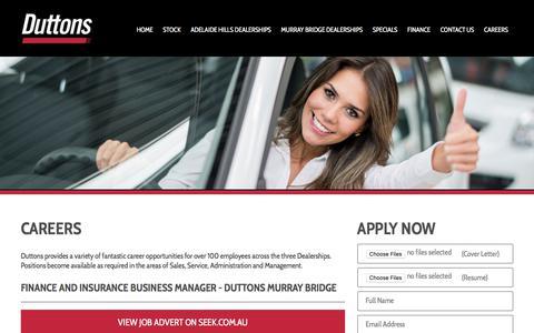 Screenshot of Jobs Page duttons.com.au - Careers - Duttons Automotive - captured Oct. 13, 2017