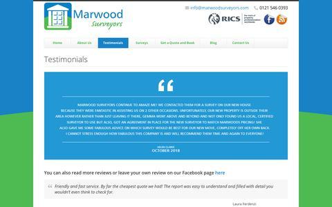 Screenshot of Testimonials Page marwoodsurveyors.com - Testimonials - Property Surveys and Valuations from Marwood Surveyors Ltd. - captured Nov. 6, 2018