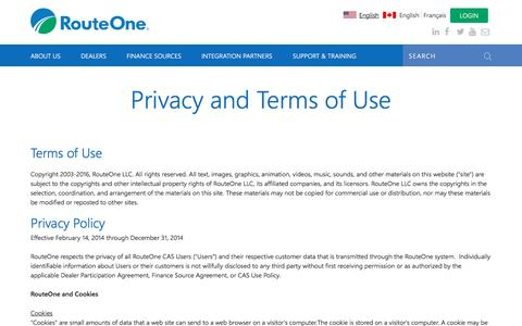 Screenshot of Privacy Page routeone.com - Privacy and Terms of Use | RouteOne - captured Nov. 7, 2016