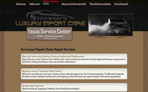 Screenshot of Services Page luxuryimportcare.com - Service & Repair | Luxury Import Care: Lexus-Toyota-Scion Auto Service & Repair - captured Sept. 30, 2014