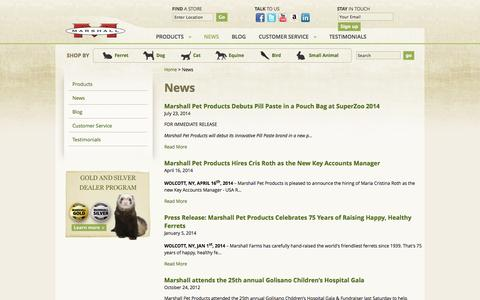 Screenshot of Press Page marshallpet.com - News - Marshall Pet Products - captured Oct. 27, 2014