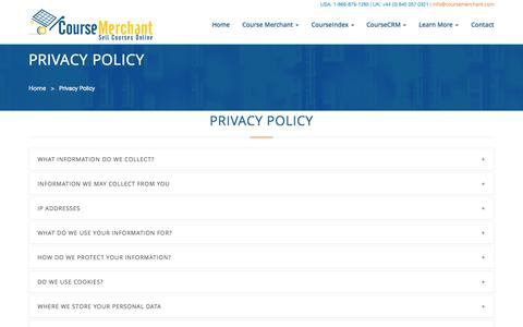 Screenshot of Privacy Page websimhealth.com - Course Merchant | Privacy Policy - captured Oct. 26, 2014