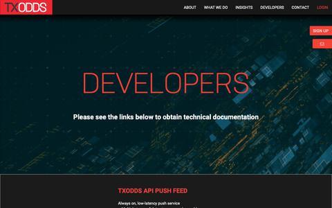 Screenshot of Developers Page txodds.net - Developers - TXODDS - captured Sept. 28, 2018