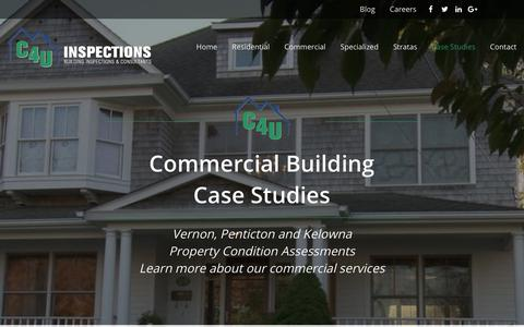 Screenshot of Case Studies Page c4uinspections.ca - Commercial Building Inspections In Kelowna | Case Studies C4U Inspections - captured July 14, 2018