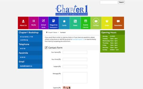 Screenshot of Contact Page chapter1.lu - Contact - captured Oct. 2, 2014