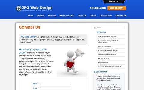 Screenshot of Contact Page jpgwebdesign.com - JPG Web Design | Raleigh Website Design | Contact Us - captured Sept. 30, 2014