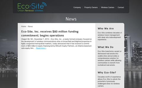 Screenshot of Press Page eco-site.com - News Archives - Eco-Site - captured July 19, 2014