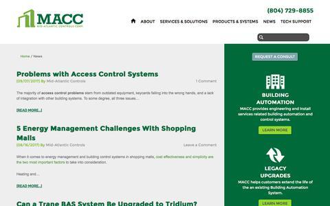 Screenshot of Press Page midatlanticcontrols.com - Mid-Atlantic Controls News - captured Oct. 18, 2017