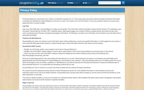 Screenshot of Privacy Page couponsdaily.com - Privacy Policy | CouponsDaily.com - captured Sept. 25, 2014