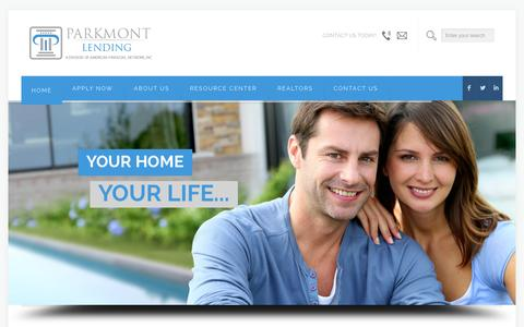 Screenshot of Home Page parkmont.com - Parkmont Lending - captured Oct. 1, 2014