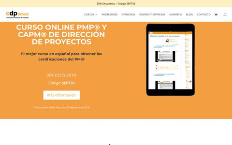 Screenshot of Home Page cursodireccionproyectos.com - Curso Dirección de Proyectos y certificación PMP - CDP School - captured Sept. 25, 2018