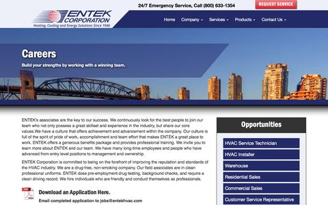 Screenshot of Jobs Page entekhvac.com - Careers - Entek HVAC - captured Nov. 8, 2016