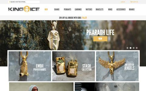 Screenshot of Home Page kingice.com - Hip Hop Jewelry,  Bling Jewelry, Mens Earrings, Hip Hop Chains, Iced Out Watches - captured Sept. 20, 2015