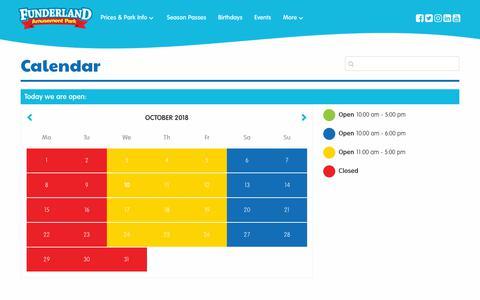 Screenshot of Hours Page funderlandpark.com - Calendar – Funderland Amusement Park - captured Oct. 11, 2018