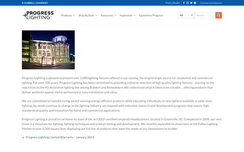 Screenshot of About Page progresslighting.com - About Us – Progress Lighting - captured Jan. 9, 2018