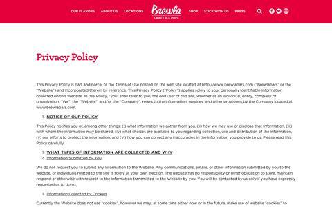 Screenshot of Privacy Page brewlabars.com - Privacy Policy | Brewla - captured Nov. 23, 2016