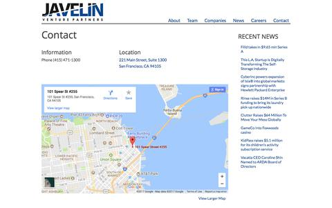 Screenshot of Contact Page javelinvp.com - Contact | Javelin Venture Partners - captured Aug. 23, 2017