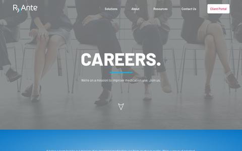 Screenshot of Jobs Page rxante.com - Careers | RxAnte.com - captured Oct. 19, 2018