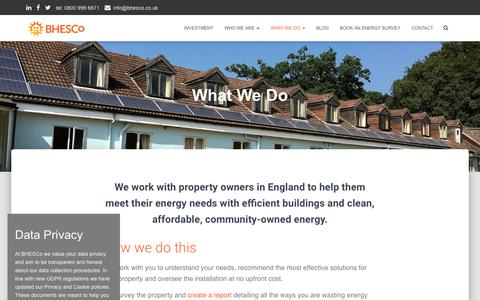 Screenshot of Case Studies Page bhesco.co.uk - What We Do | Brighton & Hove Energy Services Cooperative (BHESCo) - captured Oct. 6, 2018