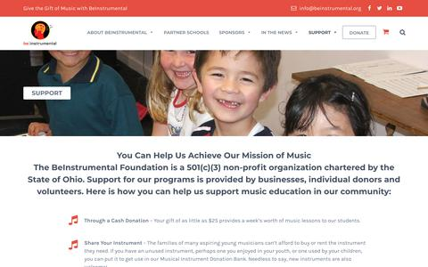 Screenshot of Support Page beinstrumental.org - SUPPORT | BeInstrumental | Music Education Charity - captured Aug. 1, 2018