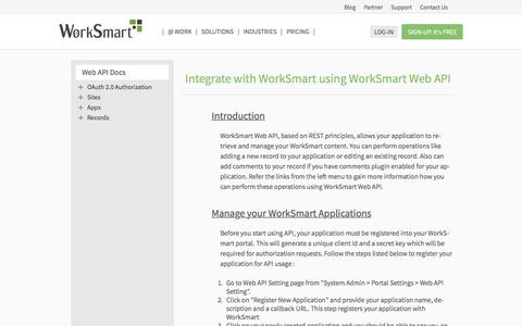Screenshot of Developers Page worksmart.net - Developers | WorkSmart - captured Sept. 22, 2018