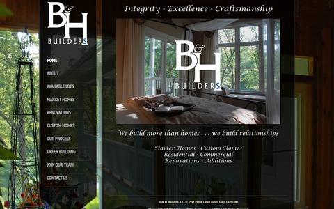 Screenshot of Home Page bh-builders.com - B & H Builders, Iowa City | B & H Builders - captured Oct. 1, 2014
