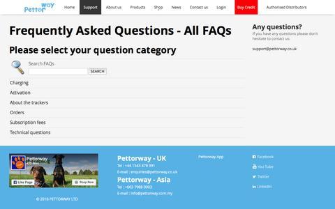 Screenshot of FAQ Page pettorway.com - Pettorway - FAQs - All FAQs - captured July 13, 2016