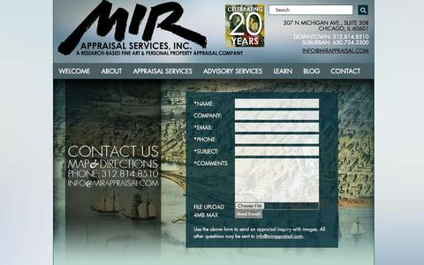 Screenshot of Contact Page Maps & Directions Page mirappraisal.com - Contact | Art Appraisers - MIR Appraisal Services - Fine Art Antiques Jewelry Personal Property in Chicago - captured Oct. 23, 2014