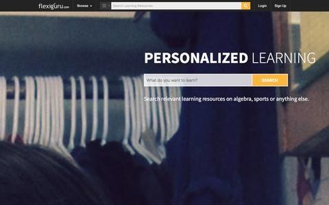 Screenshot of Home Page flexiguru.com - Online Courses, Practice Tests, Online Tutoring | Flexiguru.com - captured Jan. 14, 2016