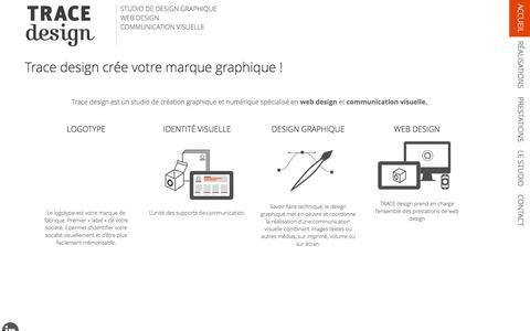 Screenshot of Home Page trace-design.fr - TRACE design | Studio de design graphique et web design - captured Feb. 16, 2016