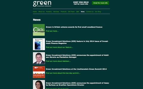 Screenshot of Press Page greenis.co.uk - News from Green Investment Solutions and the world of sustainable forestry, renewable energy and teak investment - captured Nov. 5, 2014