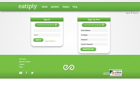 Screenshot of Signup Page Login Page eatiply.com - Site Registration and Login Form | eatiplyeat a meal, give a meal. | eatiply - captured Oct. 23, 2014