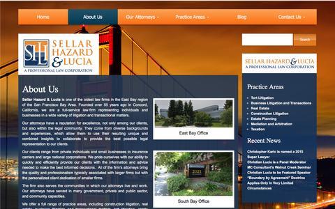 Screenshot of About Page sellarlaw.com - Litigation Law Firm | San Francisco Bay Area | Sellar Hazard & Lucia - captured Feb. 13, 2016