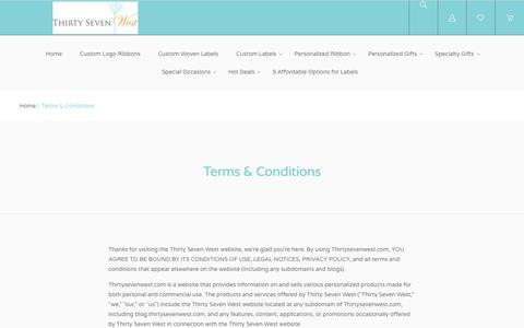 Screenshot of Terms Page thirtysevenwest.com - Terms & Conditions - captured Sept. 21, 2018