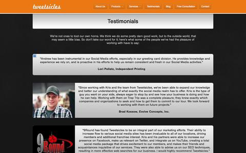Screenshot of Testimonials Page tweetsicles.com - Tweetsicles | Testimonials - captured Oct. 1, 2014