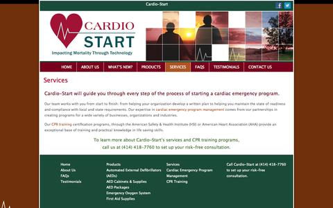 Screenshot of Services Page cardio-start.com - Cardio-Start - Cardiac Emergency Services and Training - Wisconsin - captured Sept. 27, 2014