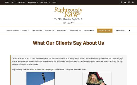 Screenshot of Testimonials Page righteouslyrawchocolate.com - Testimonials | Organic Raw Chocolates | Righteously Raw™ - captured July 12, 2017