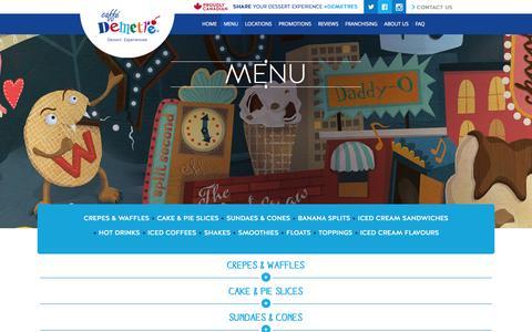 Screenshot of Menu Page caffedemetre.com - Caffe Demetre | Dessert. Experienced. - Menu - captured Sept. 26, 2014