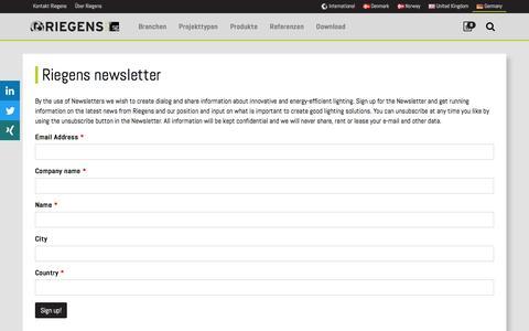 Screenshot of Signup Page riegens.com - Riegens newsletter | Riegens - captured Jan. 24, 2017