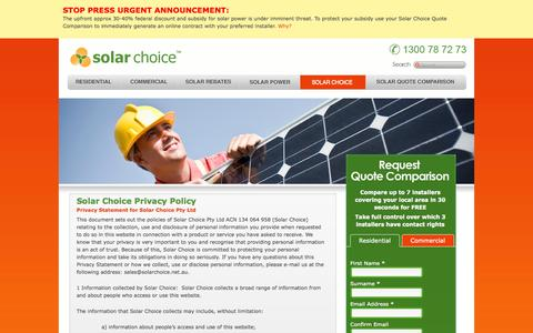 Screenshot of Privacy Page solarchoice.net.au - Privacy Policy - captured Sept. 19, 2014