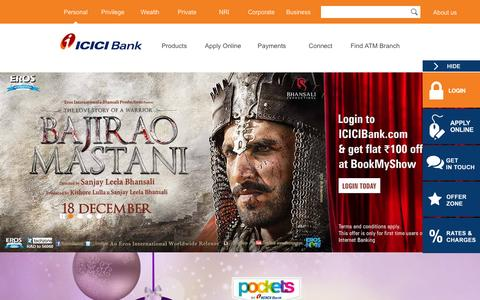Screenshot of Home Page icicibank.com - Personal Banking, Online Banking Services - ICICI Bank - captured Dec. 18, 2015