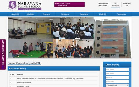 Screenshot of Jobs Page nbs.edu.in - Job / Careers Opportunity at Narayan Business School Ahmedabad | AICTE Approved College - captured Sept. 22, 2018