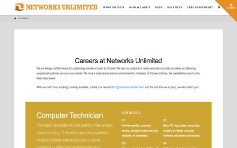 Screenshot of Jobs Page networksunlimited.com - Careers - Networks Unlimited - captured Oct. 18, 2018