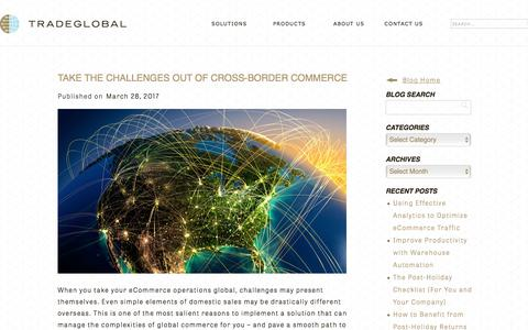Screenshot of Blog tradeglobal.com - Take the Challenges Out of Cross-Border Commerce - TradeGlobal® - captured Feb. 20, 2020
