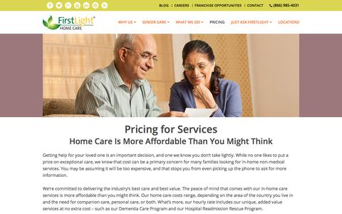 Screenshot of Pricing Page firstlighthomecare.com - Home Care Assistance: Senior Care | FirstLight Home Care - captured July 2, 2017